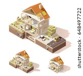 vector isometric low poly house ... | Shutterstock .eps vector #648497722