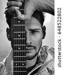 black white portrait of a guy... | Shutterstock . vector #648522802