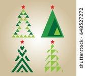 christmas tree set vector. | Shutterstock .eps vector #648527272