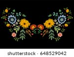 Stock vector embroidery native neckline pattern with fantasy flowers vector embroidered traditional floral 648529042