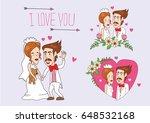 wedding bride card vector set | Shutterstock .eps vector #648532168