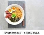 japanese ramen soup with egg...   Shutterstock . vector #648535066