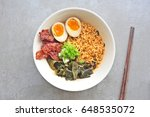 japanese ramen soup with egg...   Shutterstock . vector #648535072