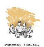 happy muslim family ramadan... | Shutterstock .eps vector #648535312