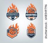 basketball sport logo design... | Shutterstock .eps vector #648549796