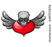 skull shape from red hearts. | Shutterstock .eps vector #648552856