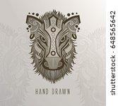 patterned boar head on... | Shutterstock .eps vector #648565642