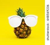 sunny pineapple. minimal art | Shutterstock . vector #648569236