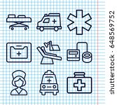 set of 9 clinic outline icons...   Shutterstock .eps vector #648569752