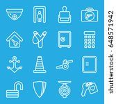 security icons set. set of 16... | Shutterstock .eps vector #648571942
