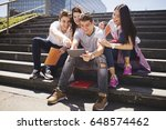 Small photo of Young people and social media, outdoors.