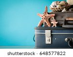 packed vintage suitcase for... | Shutterstock . vector #648577822