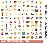100 street festival icons set