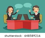 smiling businessman and... | Shutterstock .eps vector #648589216