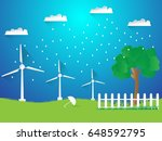 illustration of wind turbines... | Shutterstock .eps vector #648592795