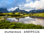 lake in the dolomites  with... | Shutterstock . vector #648595126