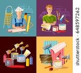 painter paints walls  pastes... | Shutterstock .eps vector #648597262