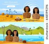 new zealand banners. people of... | Shutterstock .eps vector #648599296