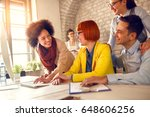 cheerful young employees... | Shutterstock . vector #648606256