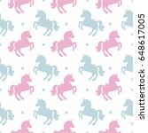 seamless pattern with unicorn... | Shutterstock .eps vector #648617005