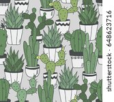 Cactuses Hand Drawn Background...