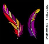 feathers embroidery. vector... | Shutterstock .eps vector #648629302