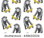seamless pattern. monkey with a ... | Shutterstock .eps vector #648632026
