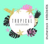 tropical exotic plants. stylish ... | Shutterstock .eps vector #648636406