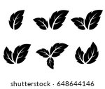 black leaf icons set on white... | Shutterstock .eps vector #648644146