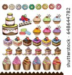 vector desserts isolated on... | Shutterstock .eps vector #648644782
