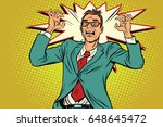 businessman in panic  stress at ... | Shutterstock .eps vector #648645472