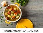 traditional potato soup. top...   Shutterstock . vector #648647455
