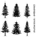 pine trees collection  vector  | Shutterstock .eps vector #64866463