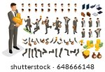 set gestures hands man  leg... | Shutterstock .eps vector #648666148