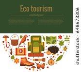 vector cartoon eco tourism... | Shutterstock .eps vector #648673306