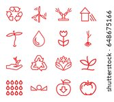 eco icons set. set of 16 eco... | Shutterstock .eps vector #648675166