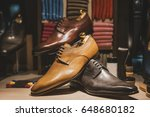 men shoes in a luxury shop in... | Shutterstock . vector #648680182