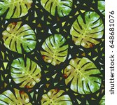 seamless pattern with palm... | Shutterstock .eps vector #648681076