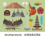 indonesia illustration, vector, travel, nature, culture, landmark | Shutterstock vector #648686386