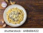 vegan mushroom pasta. top view.