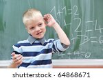 happy young boy at first grade... | Shutterstock . vector #64868671
