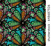 vector textile print for bed...   Shutterstock .eps vector #648687526