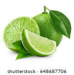 limes isolated with leaf on... | Shutterstock . vector #648687706