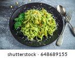 tagliatelle pasta with pesto... | Shutterstock . vector #648689155
