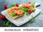 homemade grilled toast with... | Shutterstock . vector #648689302