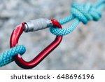 carabiner hook with a climbing... | Shutterstock . vector #648696196