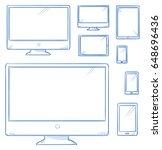set of computer screens  smart... | Shutterstock .eps vector #648696436