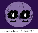 the two black sleeping sheep in ... | Shutterstock .eps vector #648697252