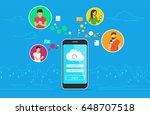 cloud synchronization concept... | Shutterstock .eps vector #648707518