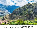 inca fortress with terraces and ... | Shutterstock . vector #648715528